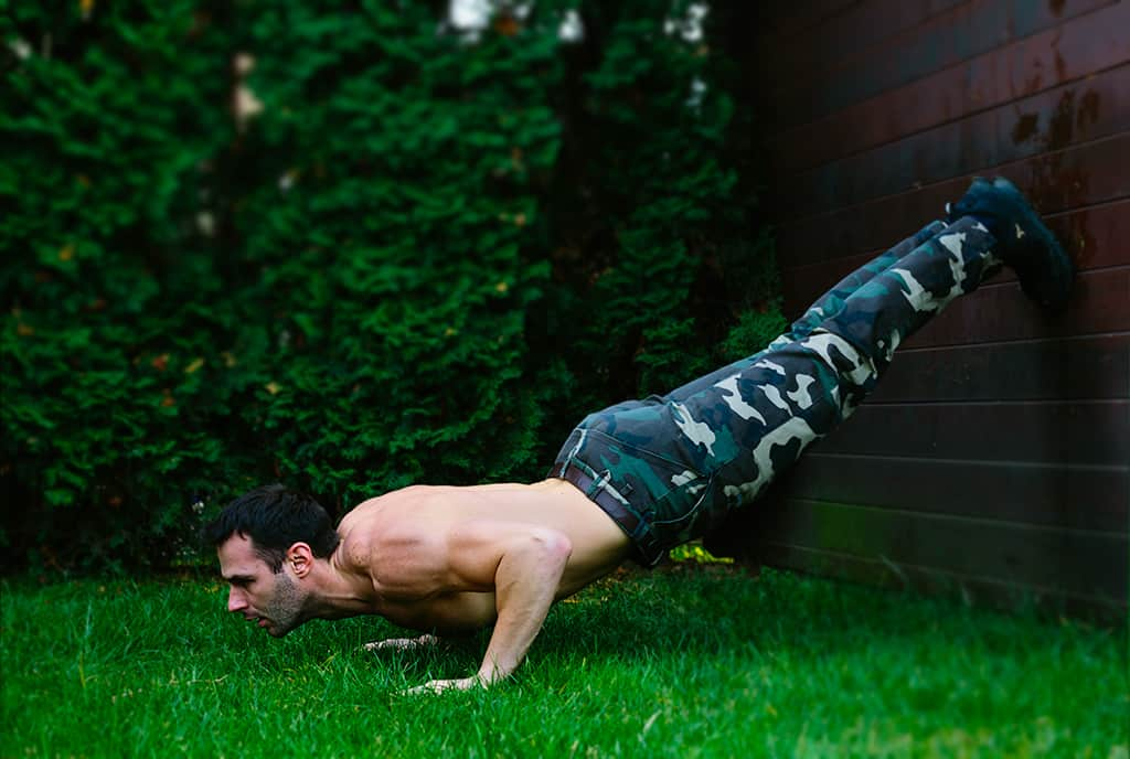 Pushups with Feet Elevated on the Wall